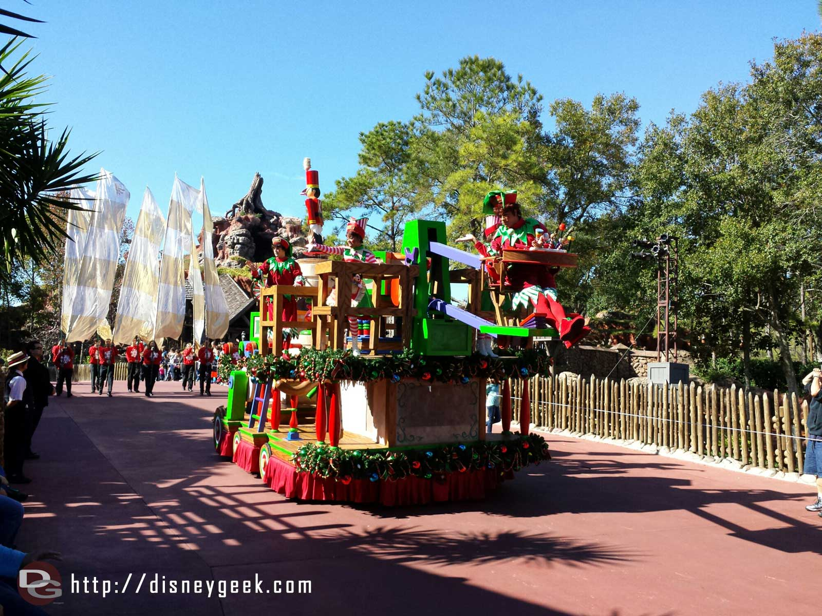 Another float rolling out for the Frozen Christmas Celebration taping