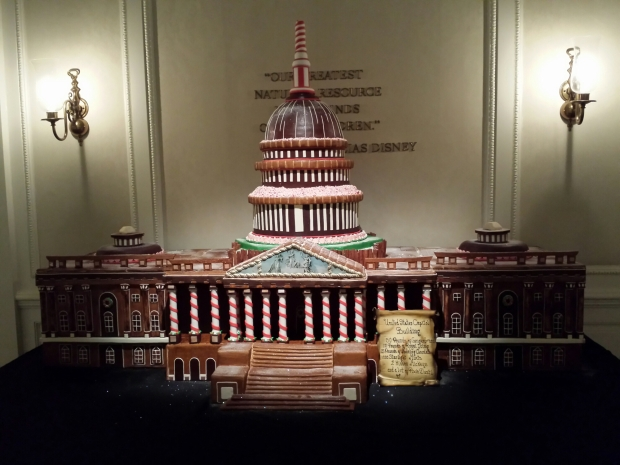The United States Capitol building modeled out of gingerbread in the American Adventure lobby