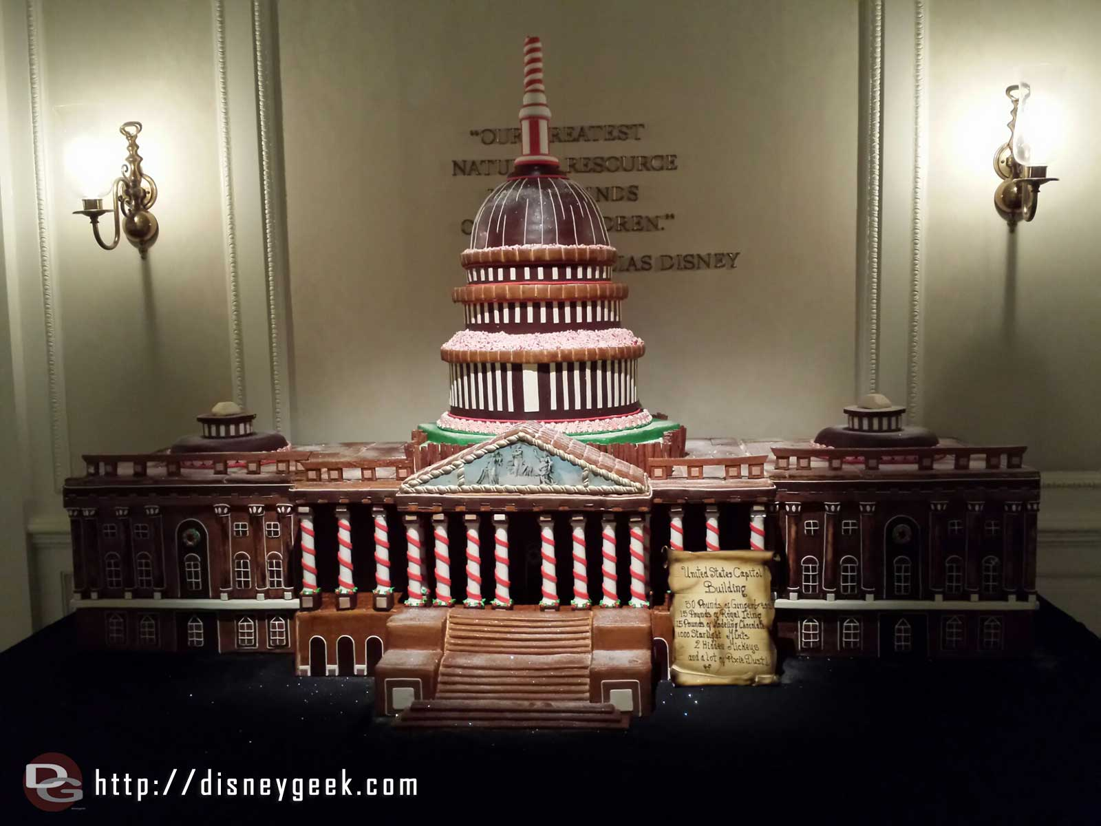 The US Capitol Building made of gingerbread in the American Adventure lobby #Epcot