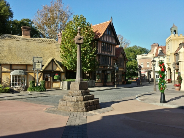 A quiet United Kingdom pavilion in the World Showcase at Epcot.