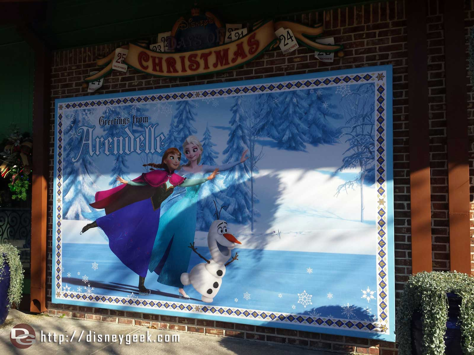 Visiting the Downtown Disney Marketplace, #Frozen has a large presence with the soundtrack playing and signage