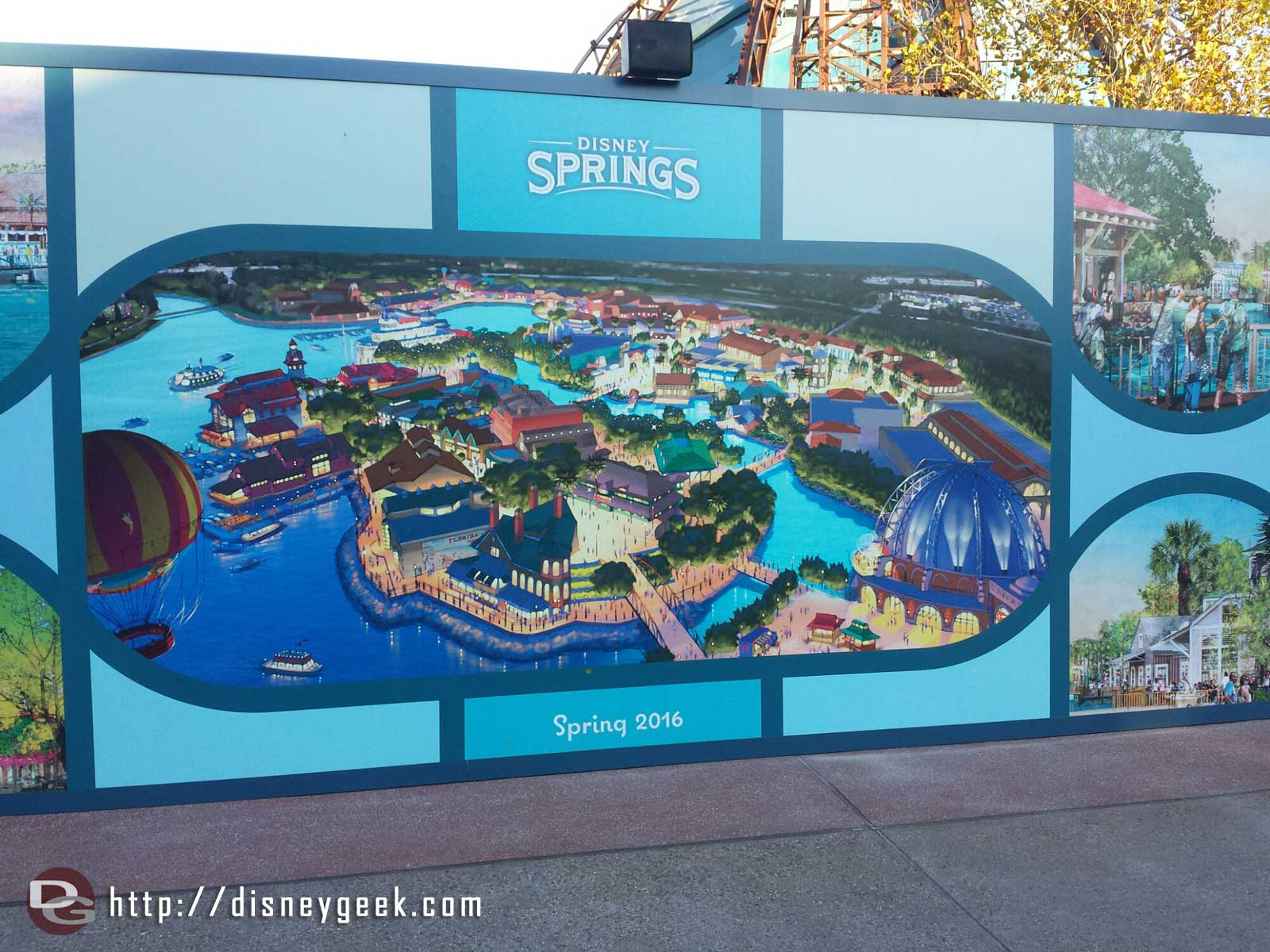 Disney Springs concept art on a wall near Planet Hollywood