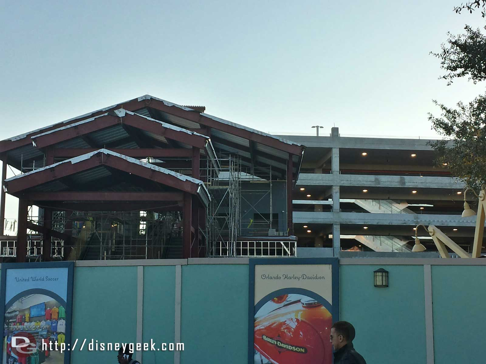 A pedestrian entrance to the garage to cross over the roadway Disney Springs