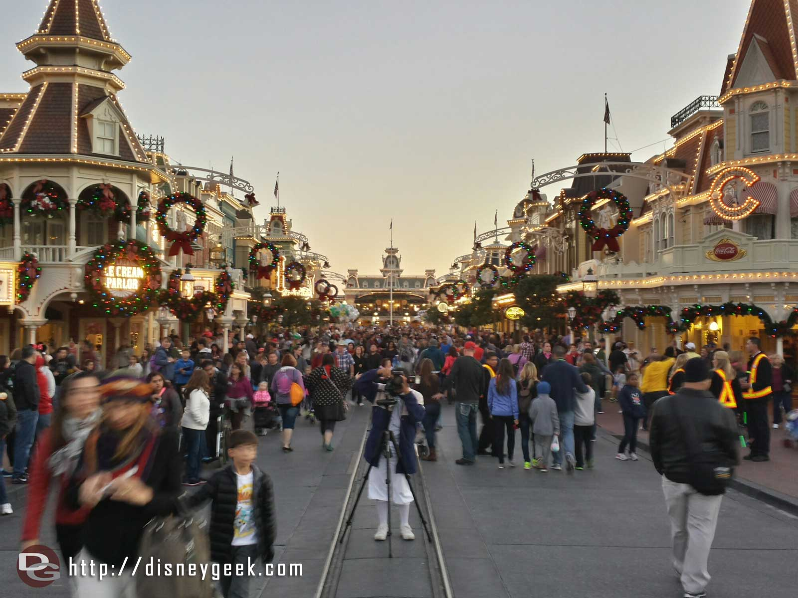 Main Street USA from near the hub, no Christmas tree yet #WDW