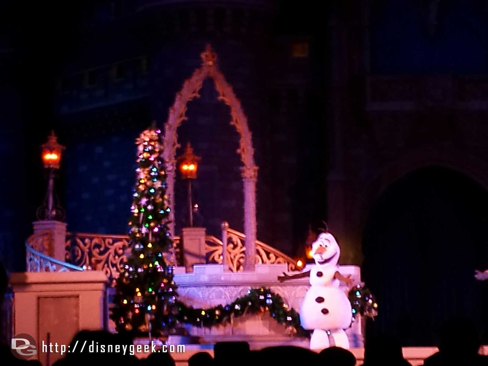Olaf during the Frozen Holiday Wish
