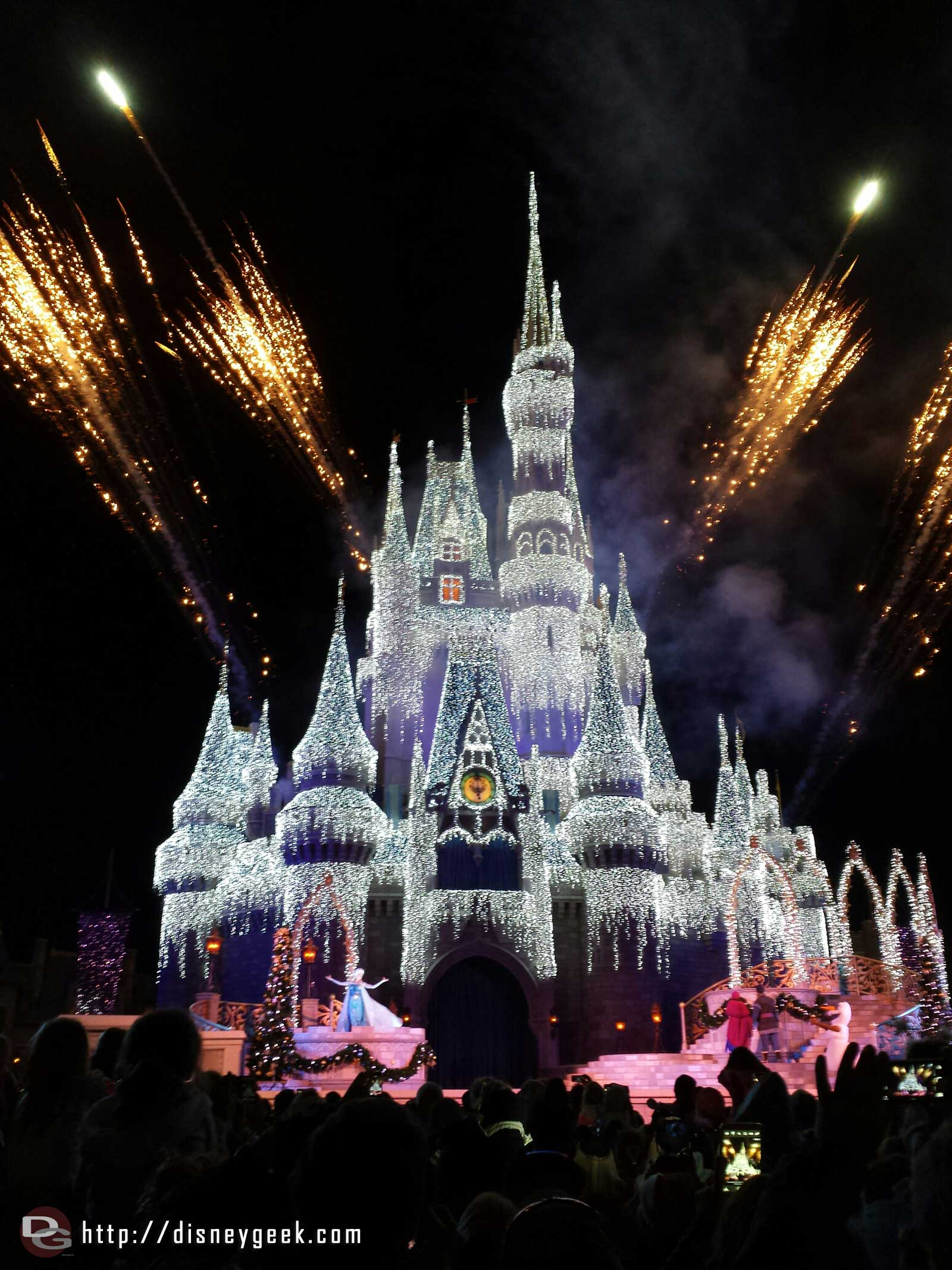 Cinderella Castle right after the lights were turned on this evening.