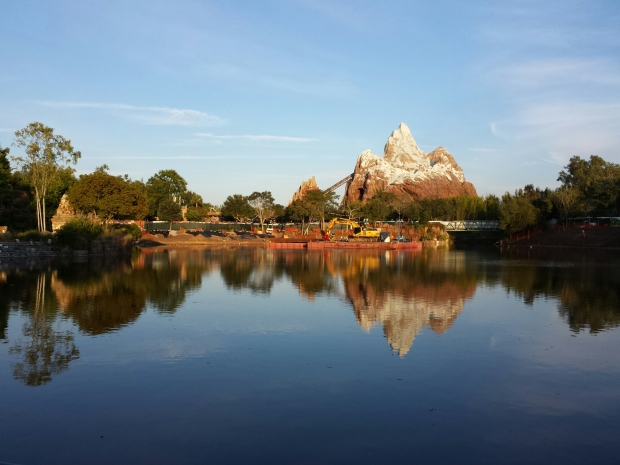 Expedition Everest from across the lagoon.