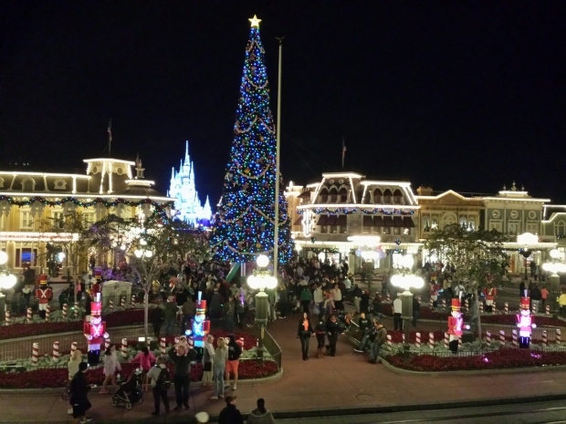 Town Square with the Christmas Tree lit up.