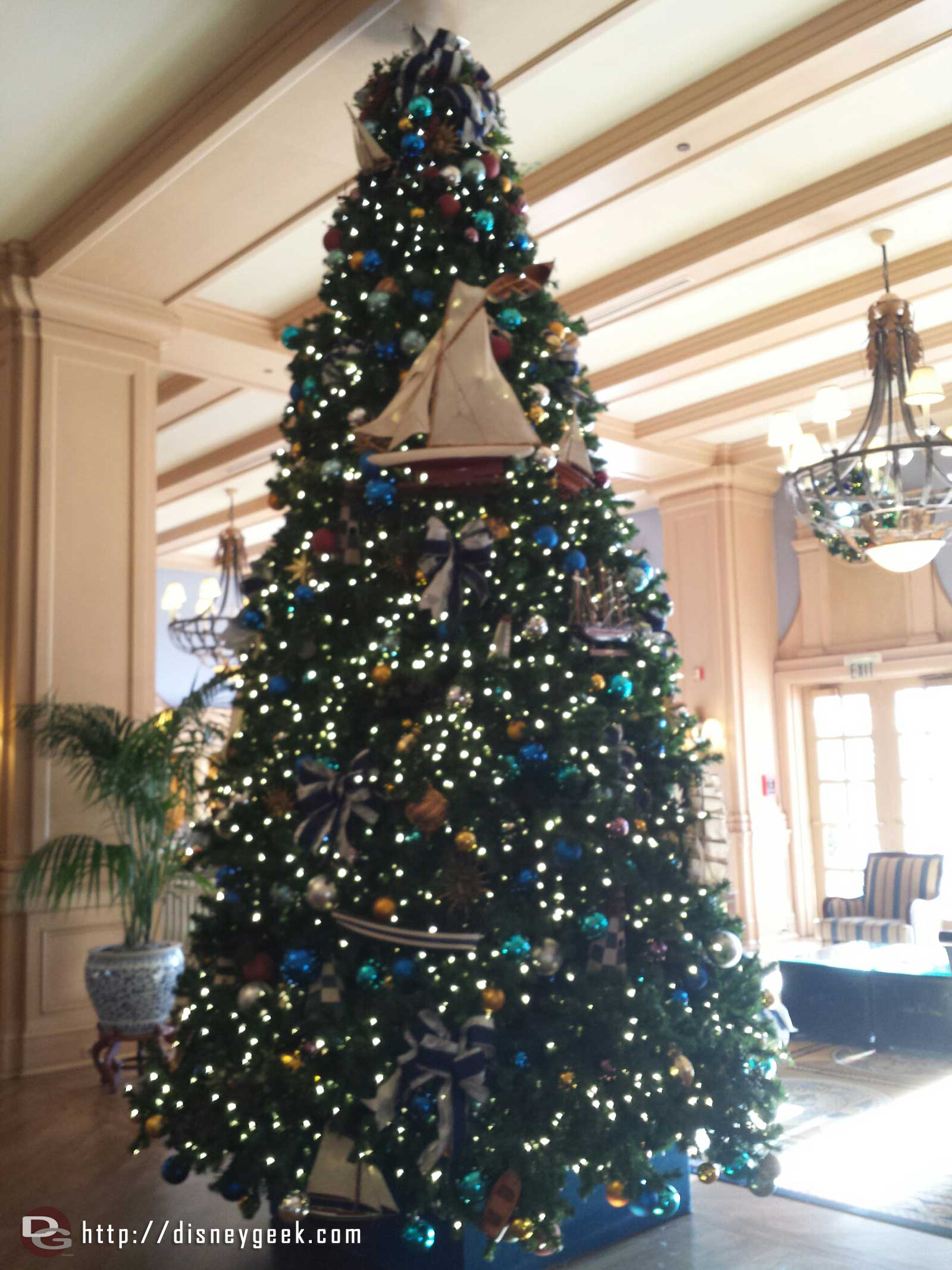 Disney's Yacht Club lobby Christmas tree