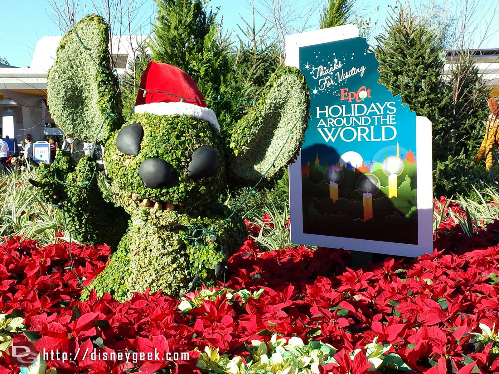 Stitch topiary at the entrance of #Epcot for Holidays Around the World