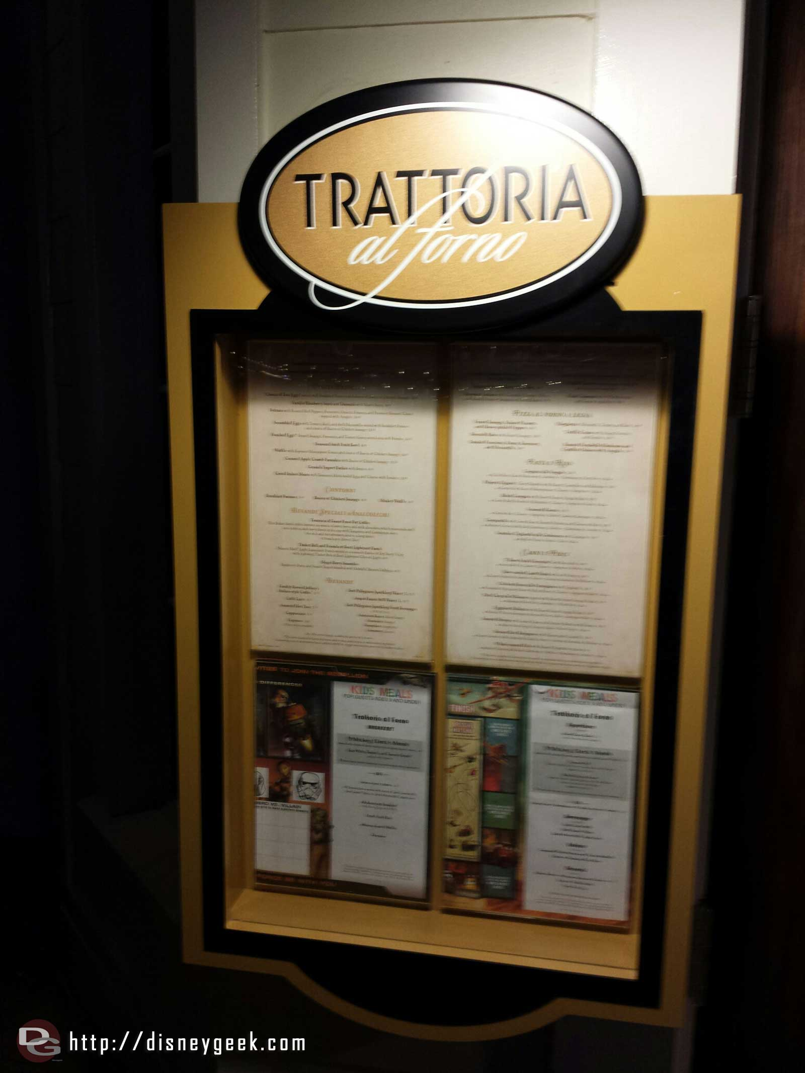 Passing by Trattoria alforno and the menus are posted now #WDW