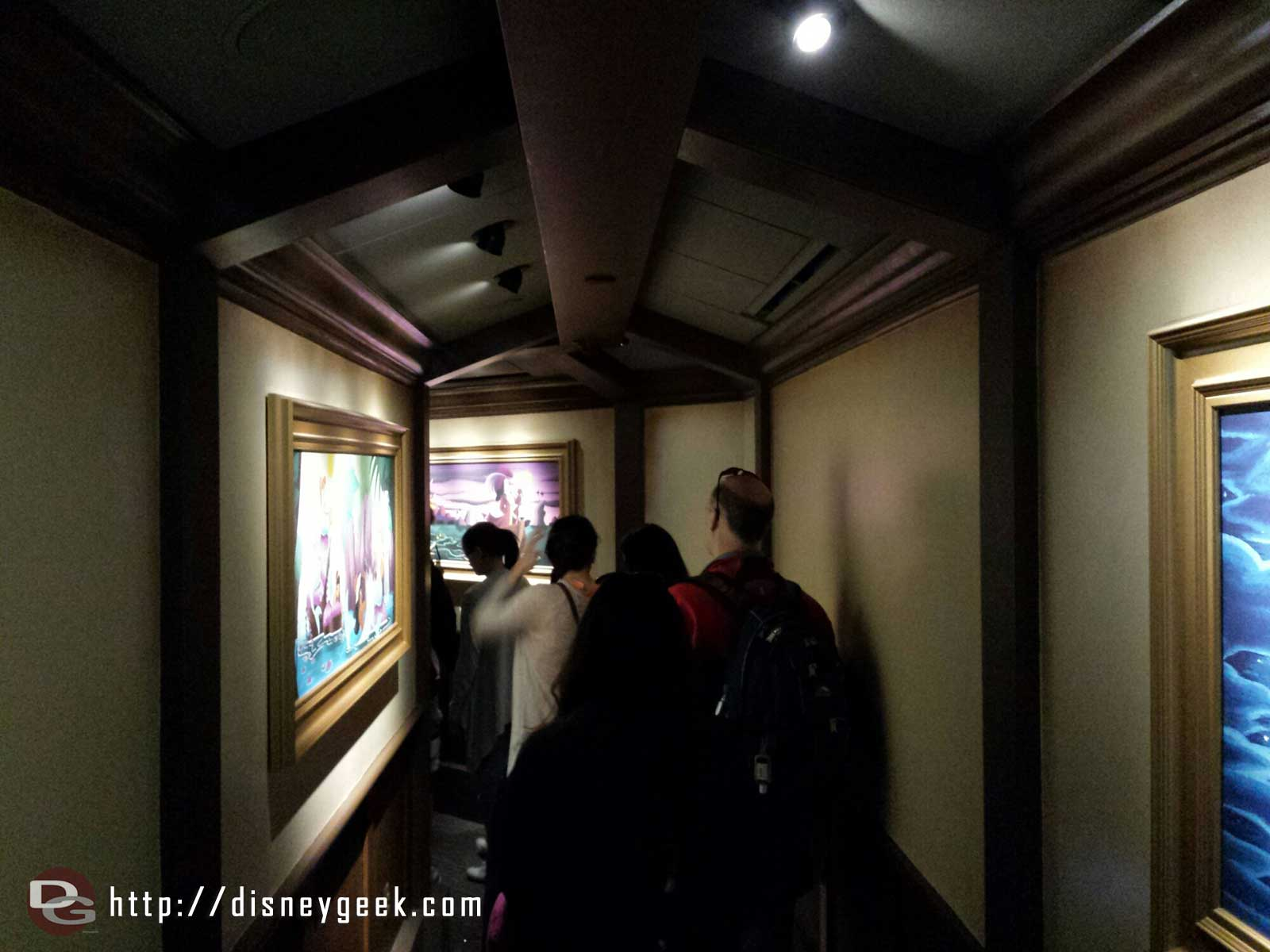 The new Peter Pan queue. The first section is an art gallery.