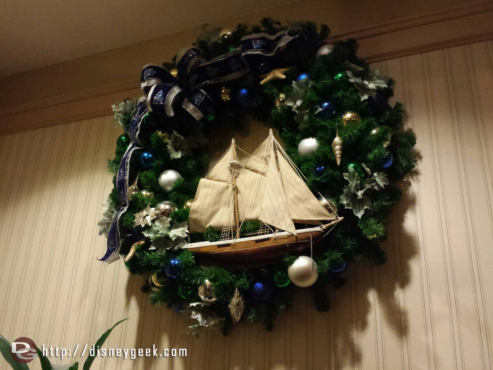 A wreath at the Yacht Club #WDW