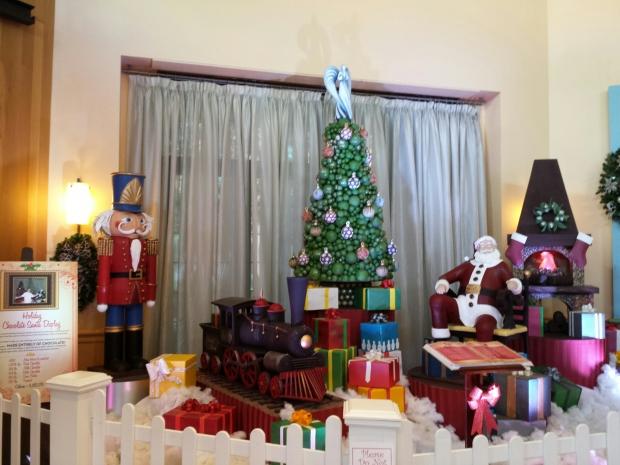 The Holiday Chocolate Santa Display at the Swan hotel.