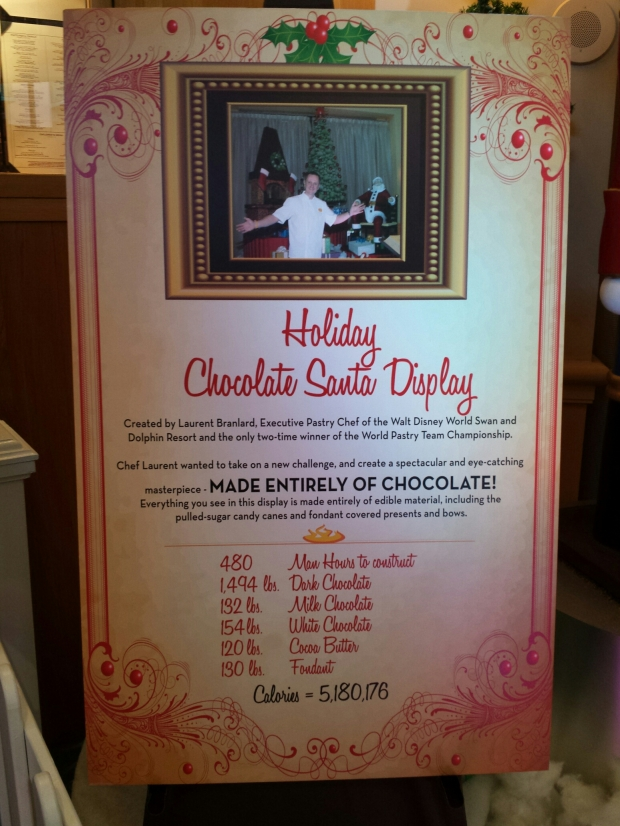 Ingredients/stats on the Holiday Chocolate Santa Display at the Swan Hotel.