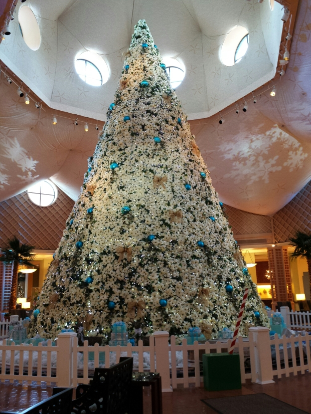 The poinsettia tree in the Dolphin lobby