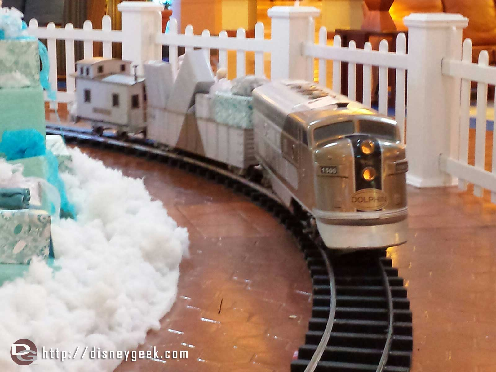 The train around the Dolphin Christmas tree #WDW
