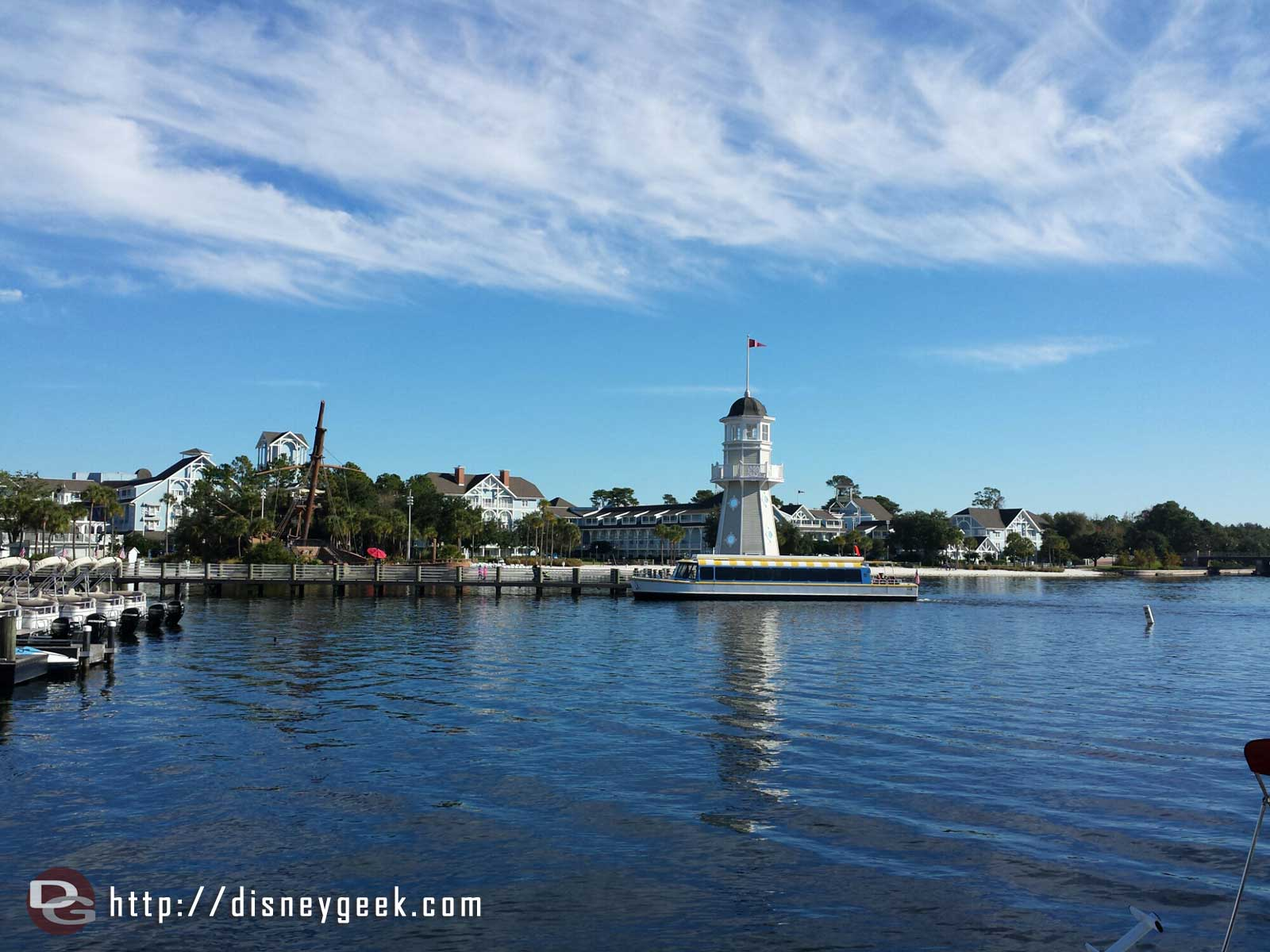 Yacht Club lighthouse with Beach Club in background #WDW