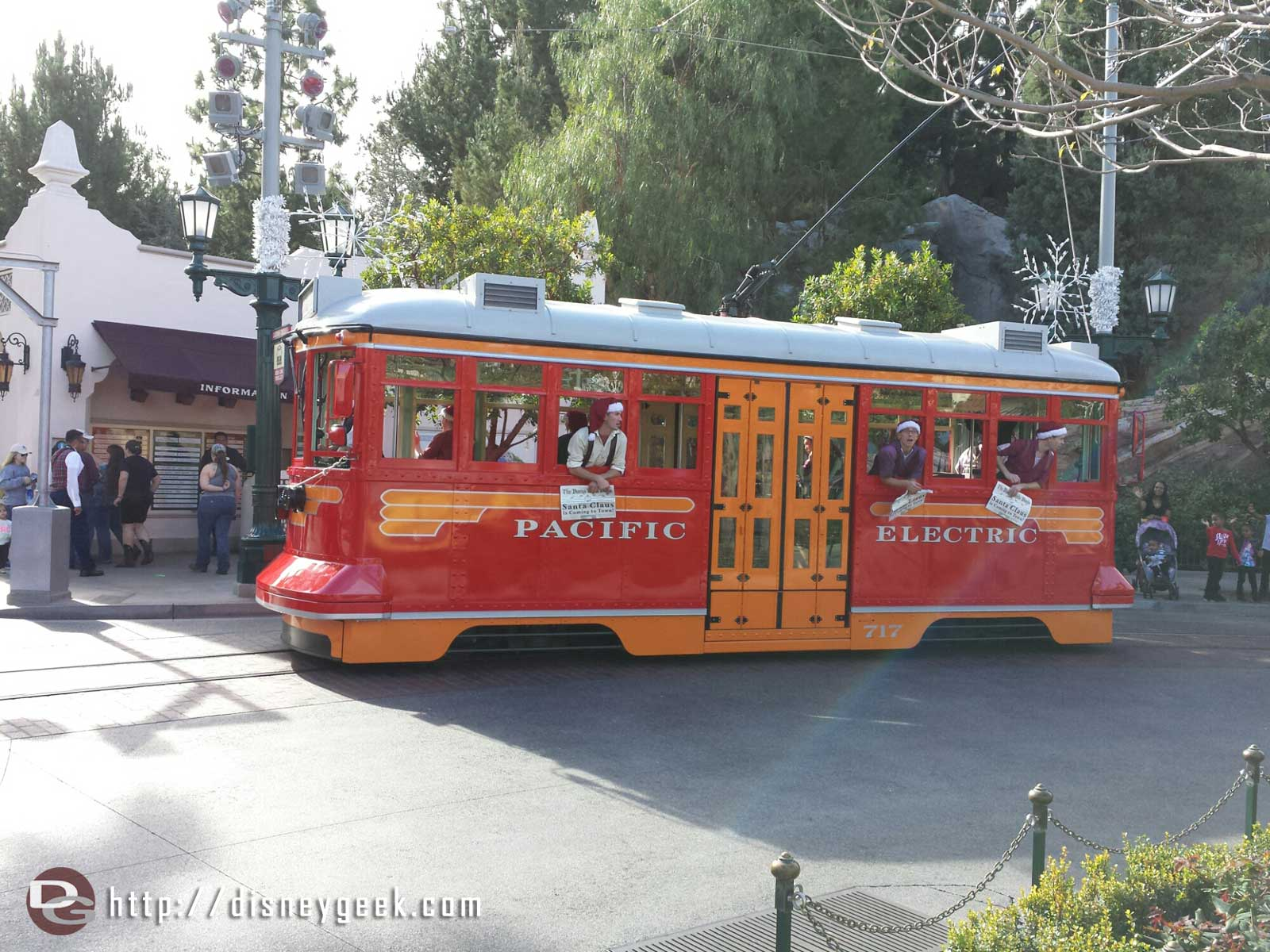 A Red Car Trolley Sleigh crossing my path #BuenaVistaStreet