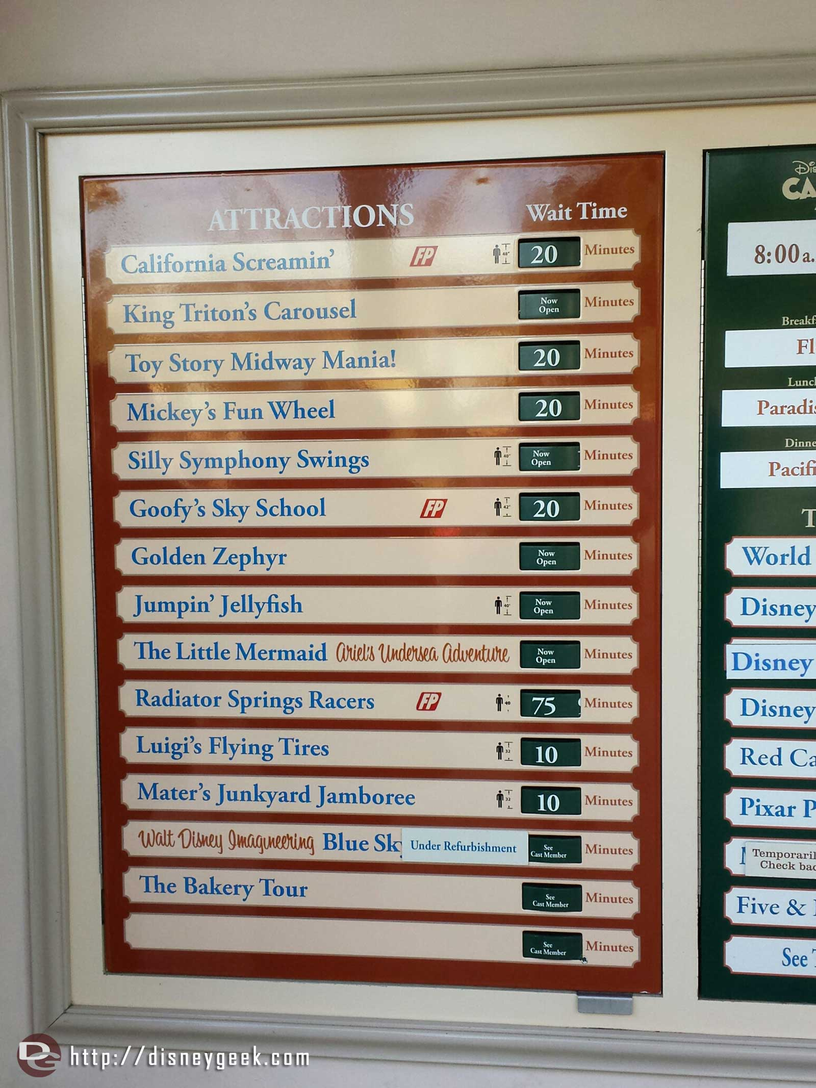 Disney California Adventure waits as of 1:05pm
