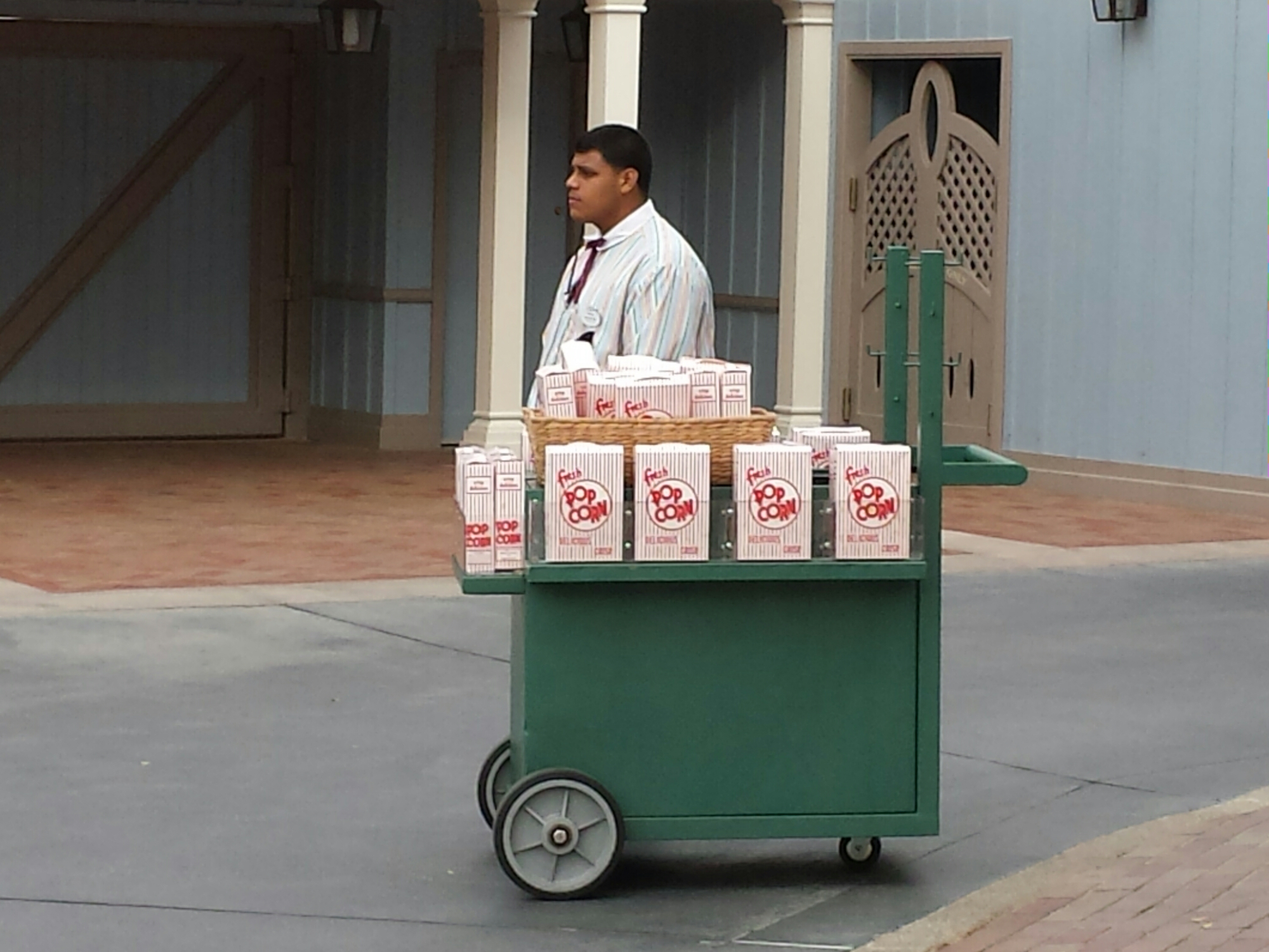 A new popcorn cart on Main Street USA?  $4.25 a box #Disneyland