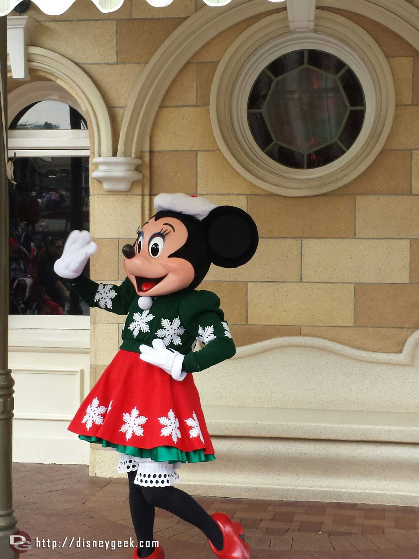 Minnie greeting guests on Main Street USA #Disneyland