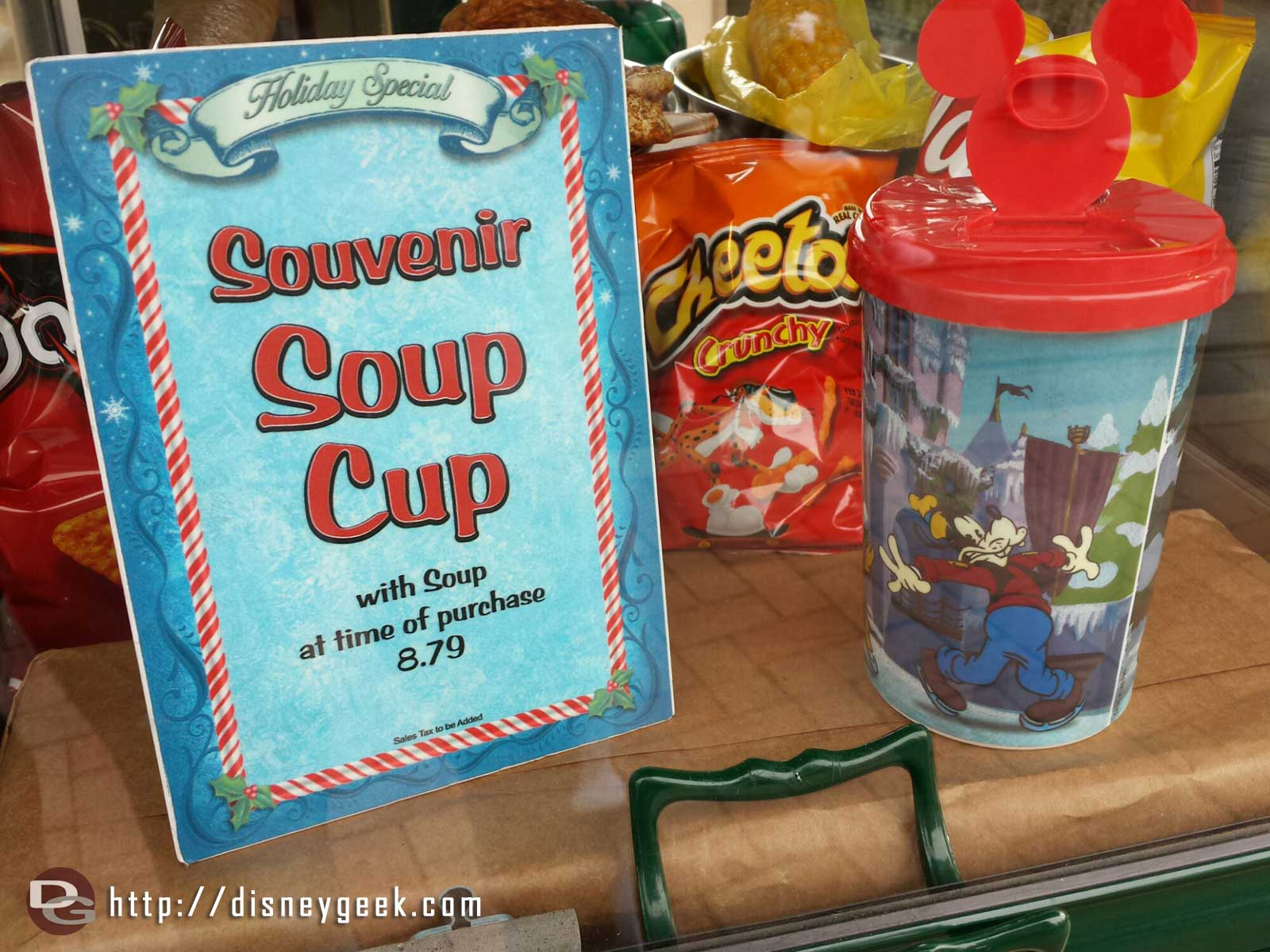Holiday special souvenir soup cup at the outdoor stand in the hub #Disneyland