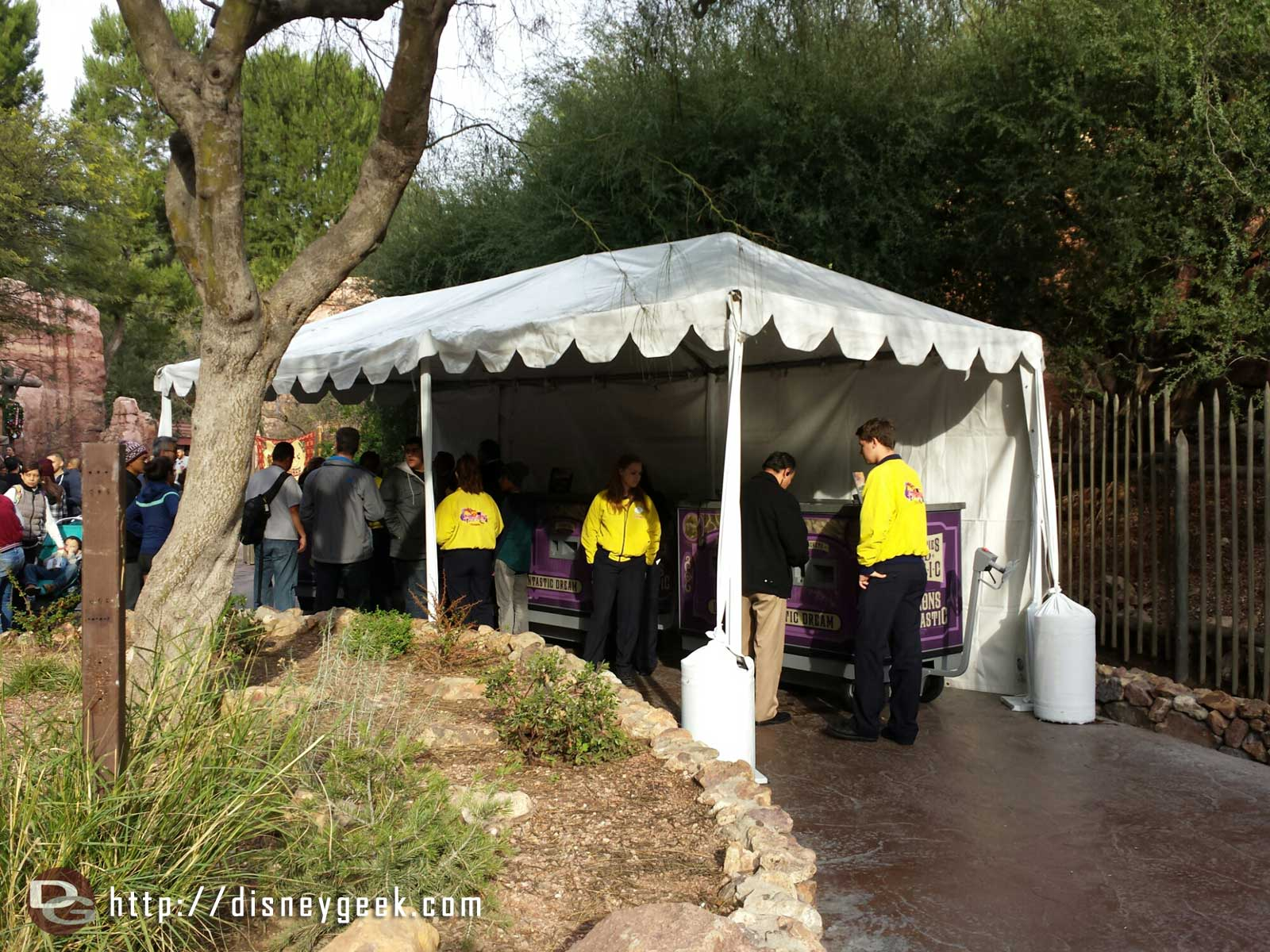 Fantasmic FasPass distribution is from carts under these temporary tents.  Currently for blue @ 10:45 show