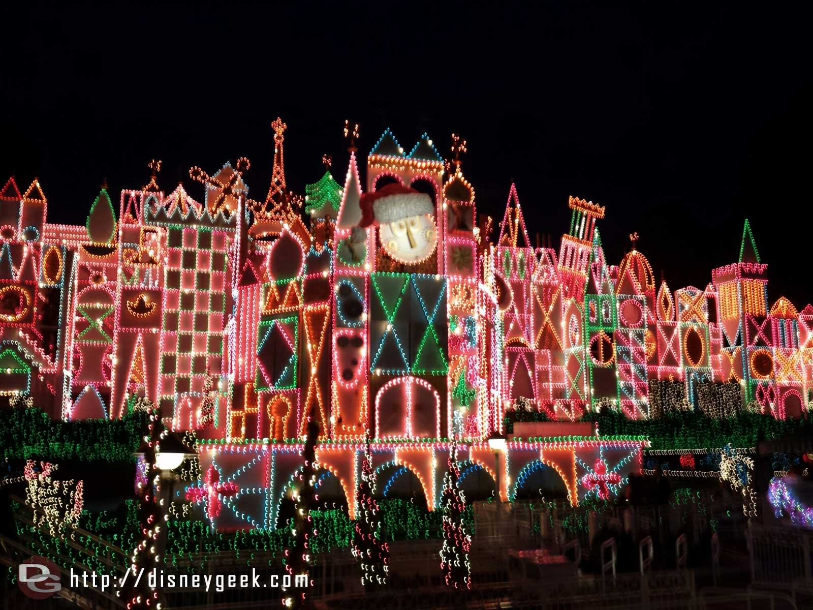 Small World Holiday lights just turned on for the evening #Disneyland
