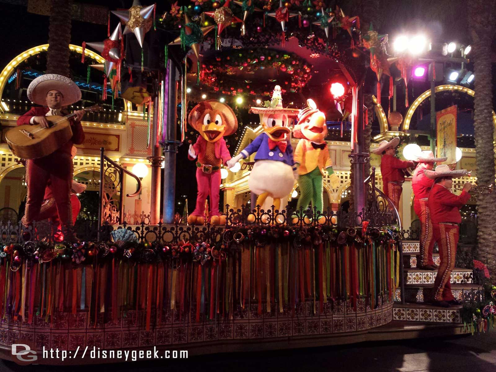 The Three Caballeros at the ¡Viva Navidad! Street Party
