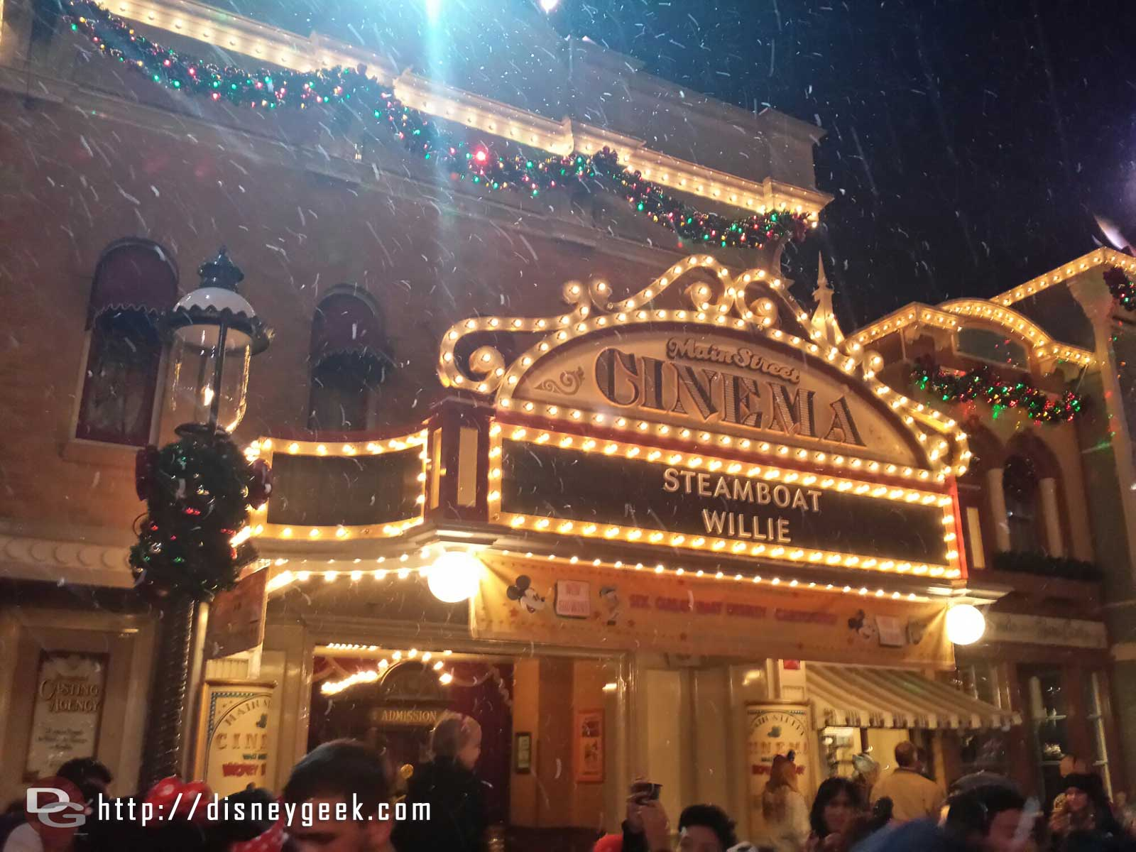 Main Street Cinema during snowfall #Disneyland