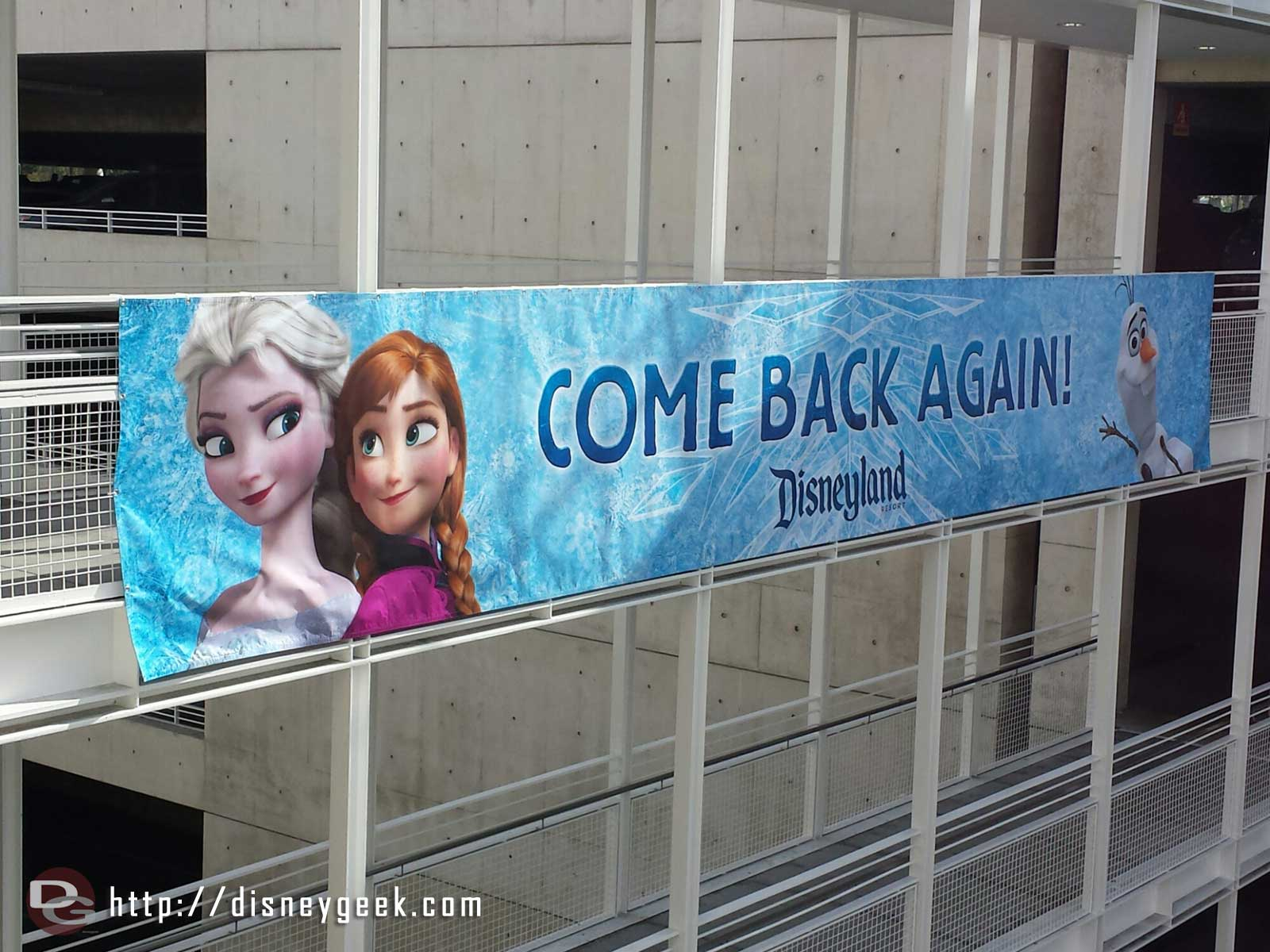 #Frozen banner at the Mickey & Friends exit ramp #Disneyland