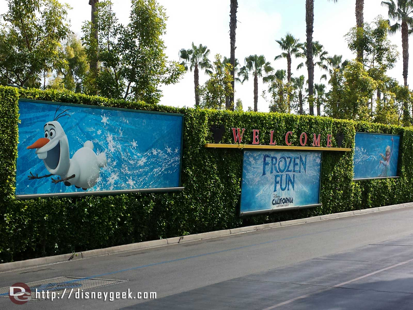 #FrozenFun billboards at the Mickey& Friends tram stop #Disneyland