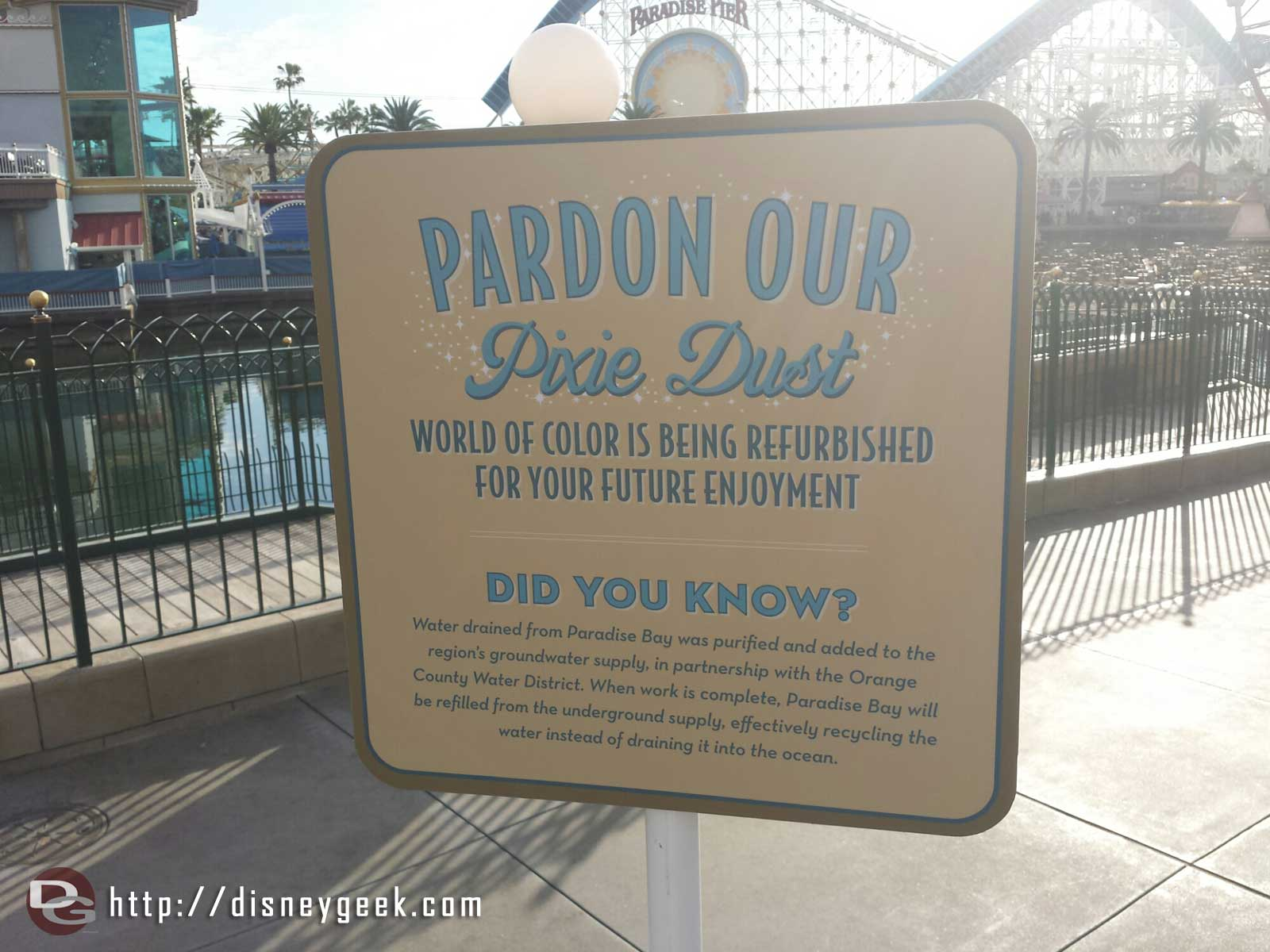 A sign explaining that the water in Paradise Bay will be drained and recycled