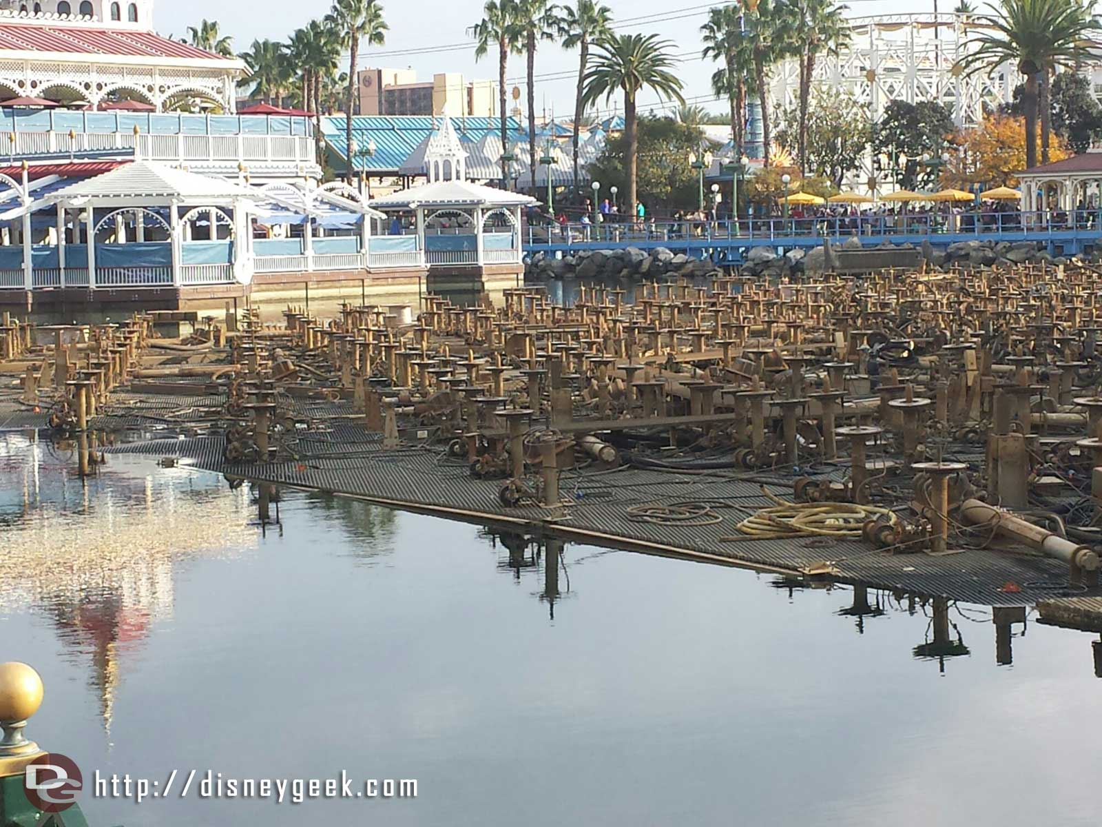 Paradise Bay water level is down slightly today.  It will be drained soon.