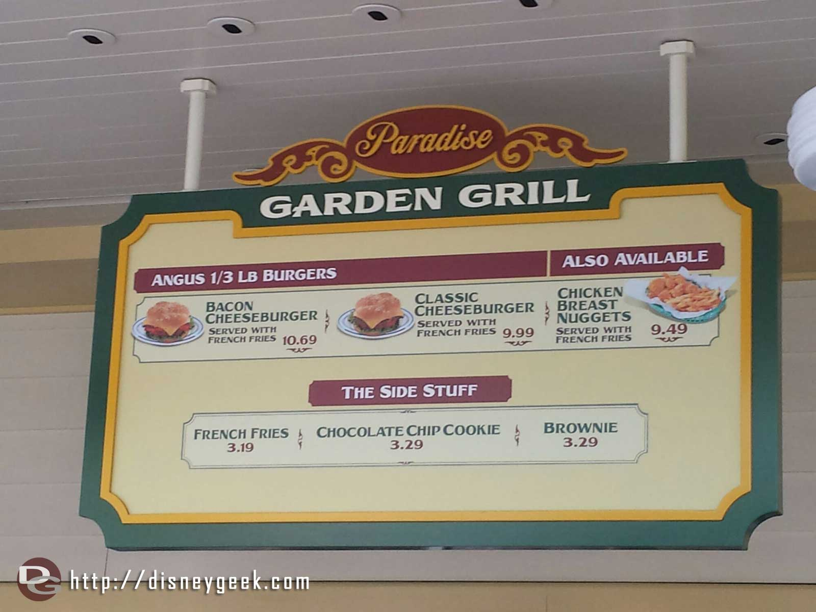 Taste Pilots is closed.  Burgers & chicken nuggets have moved to the Paradise Garden Grill