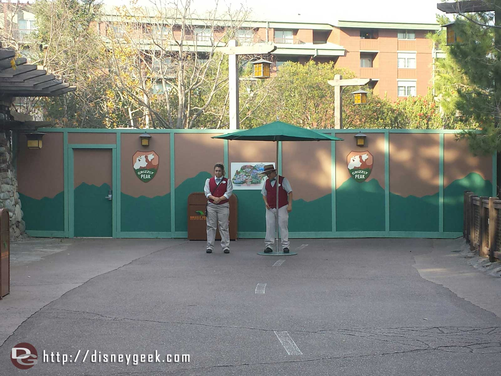 The walkway to Condor Flats is blocked off at the Grand Californian entrance path