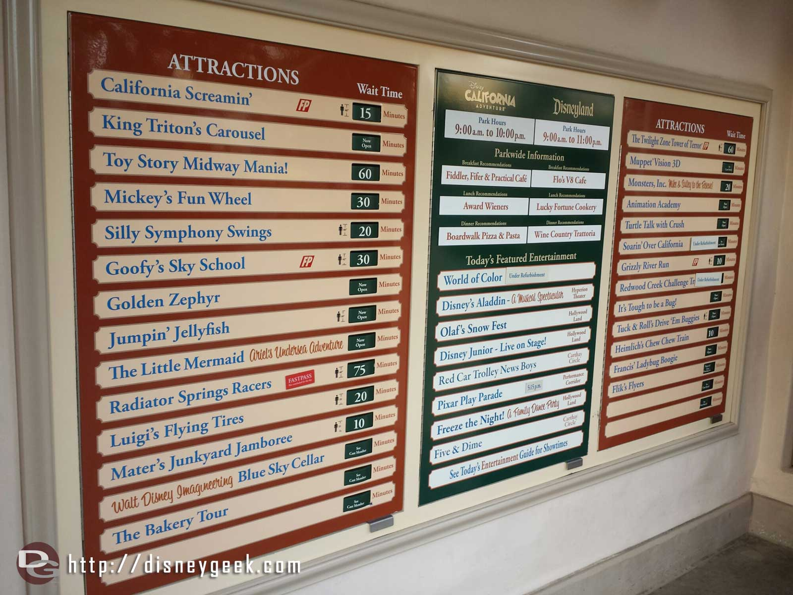 Disney California Adventure waits as of 3:24pm