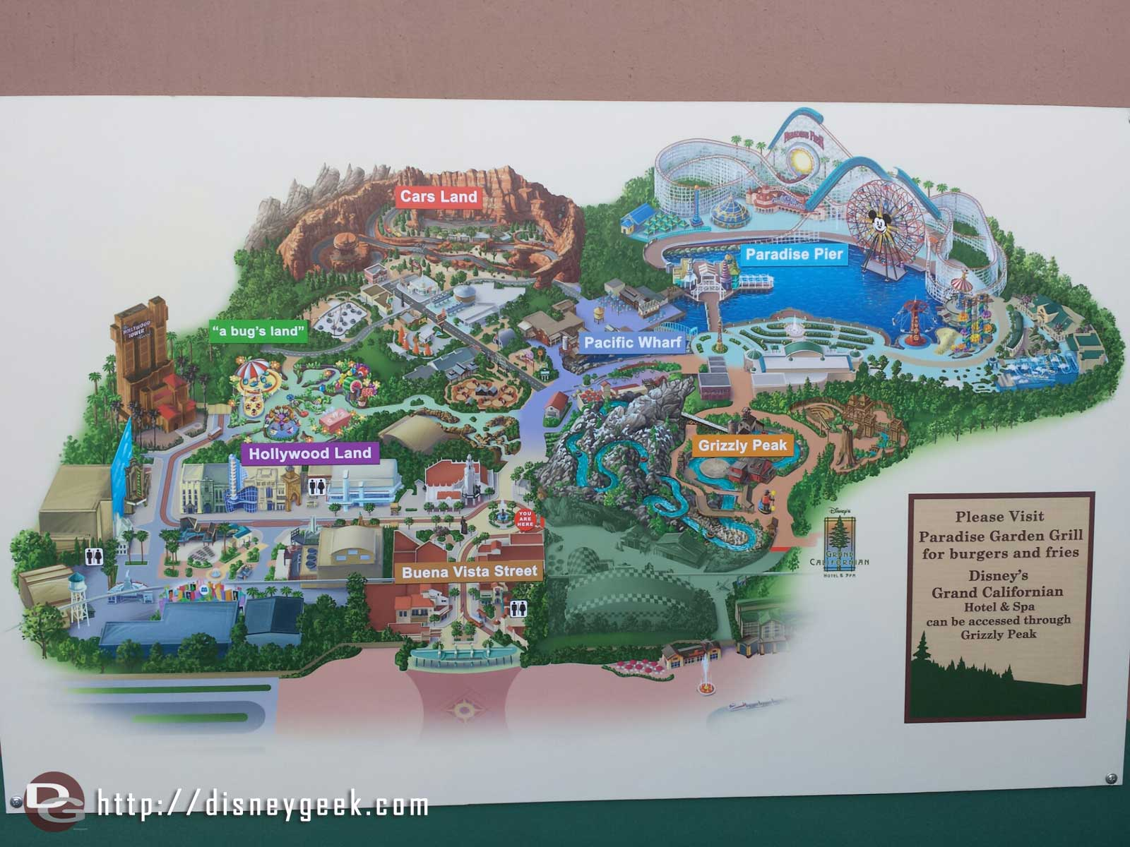 A Disney California Adventure map showing what is closed off for the Condor Flats renovation