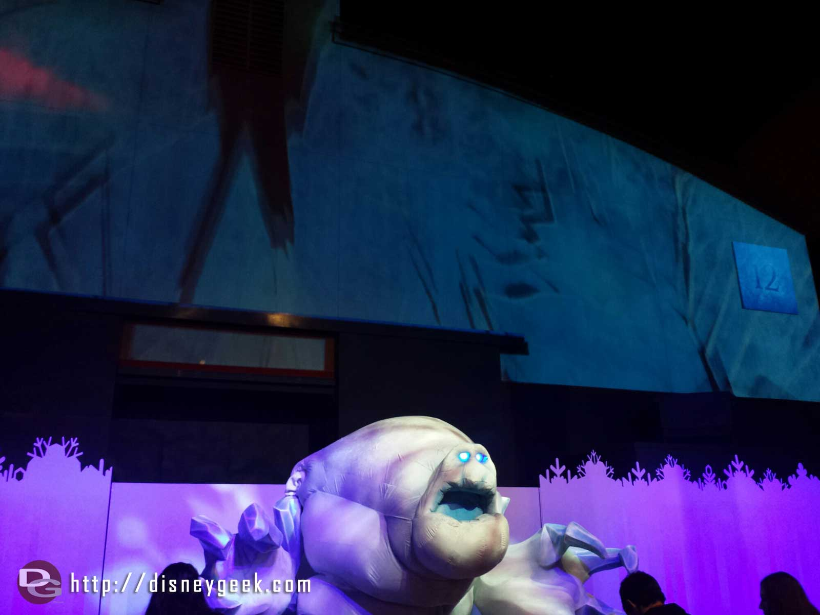 Marshmallow in front of stage 12 @ Freeze the Night #FrozenFun