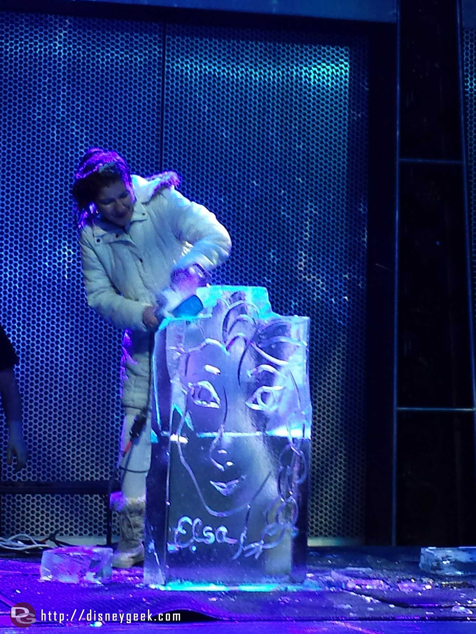 An Elsa ice sculpture being created at Freeze the Night #FrozenFun