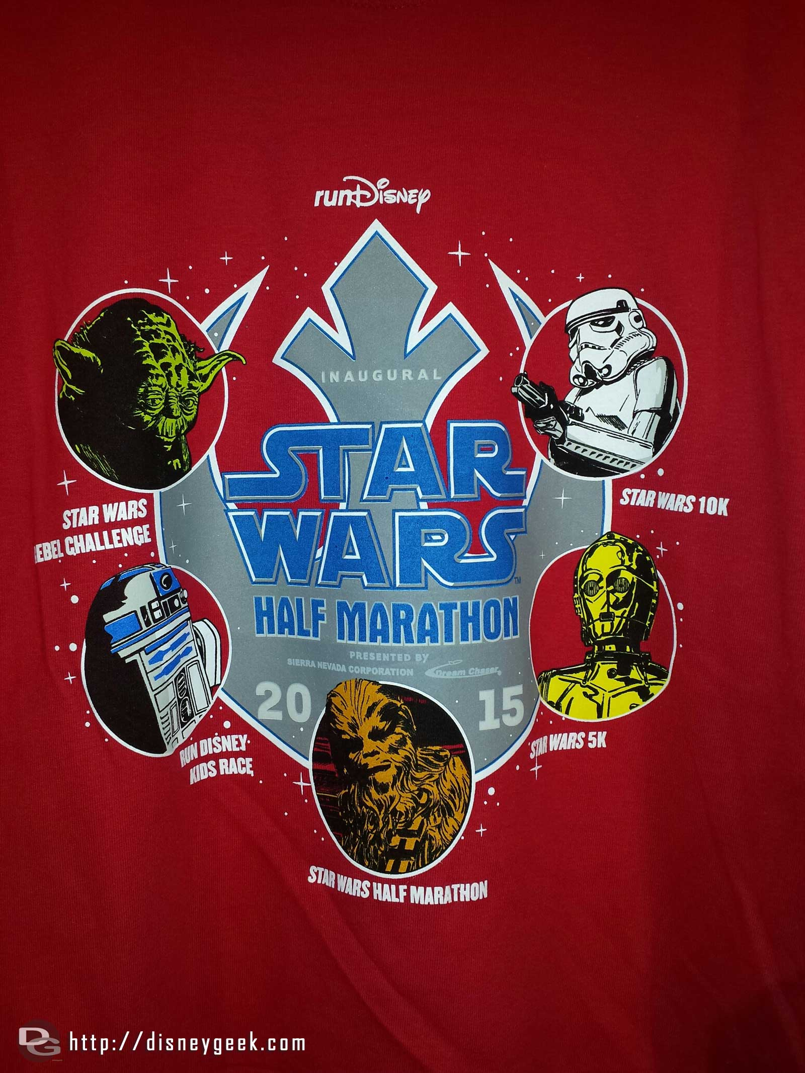 A shirt design for the Star Wars half marathon weekend featuring all the races #Disneyland