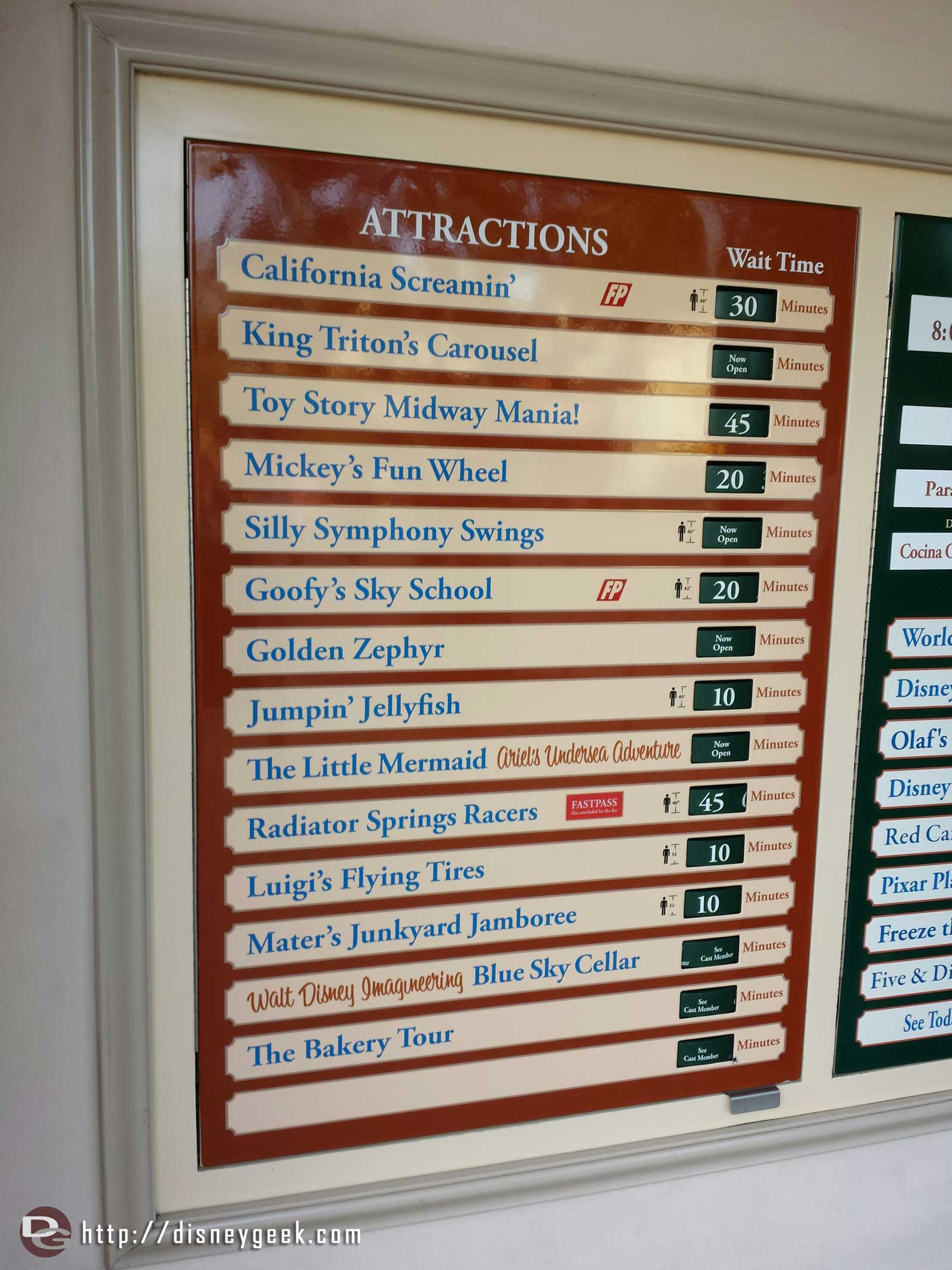 Some Disney California Adventure waits as of 2:00pm