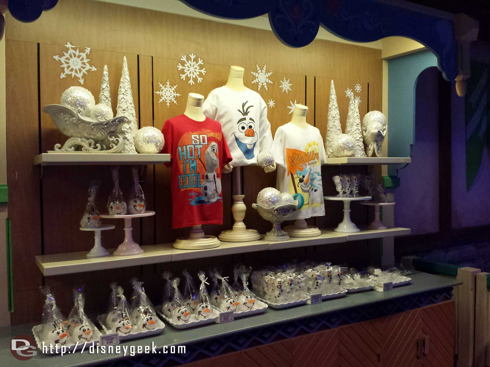 Some of the Olaf merchandise in the snow fest #FrozenFun