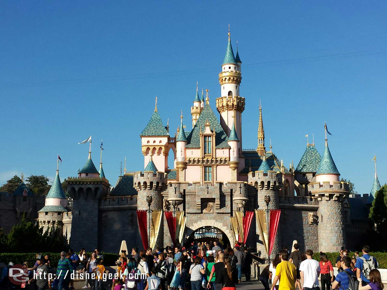 All the snow on Sleeping Beauty Castle has melted away until October #Disneyland