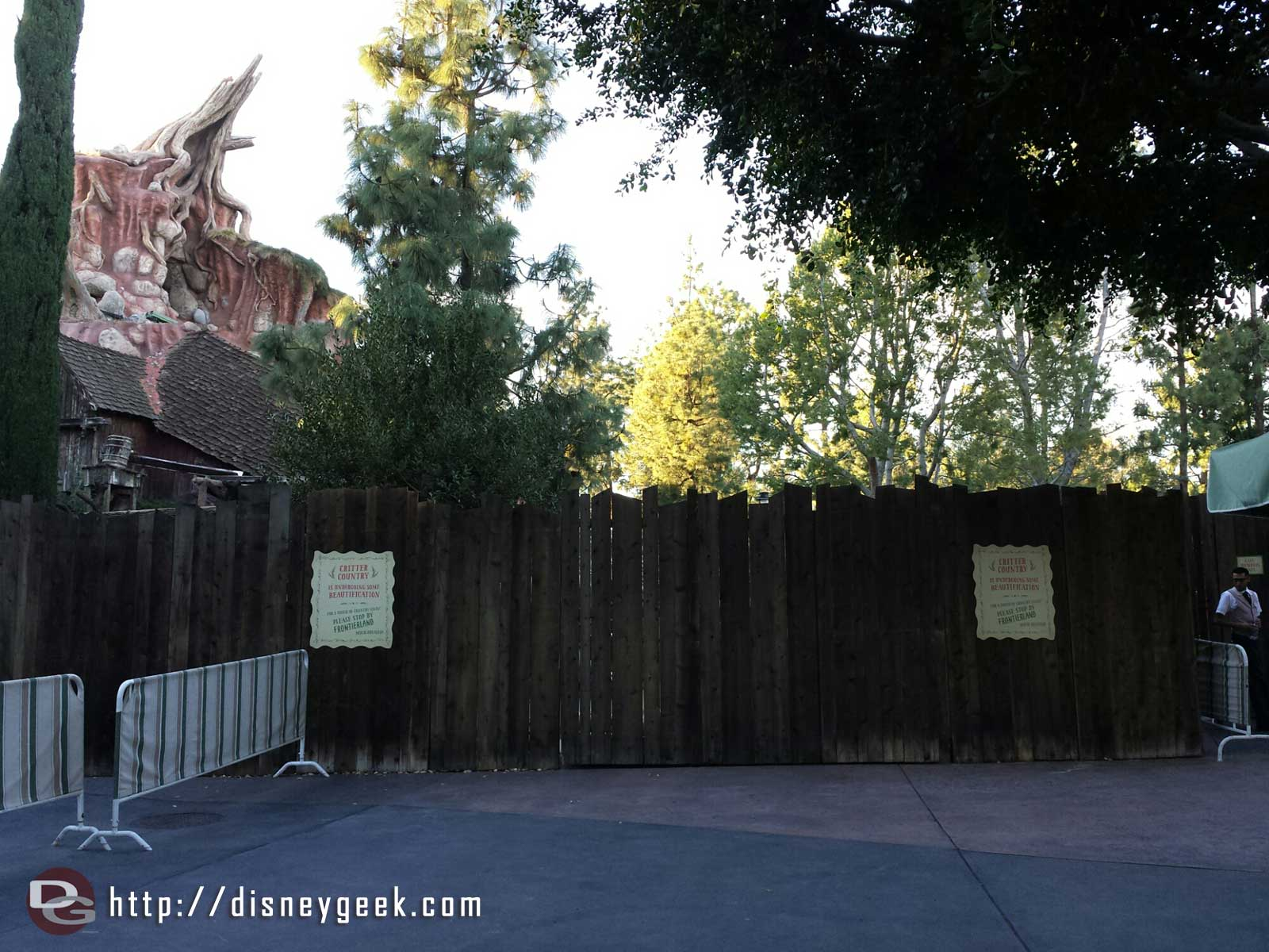 All of Critter Country is closed for renovation #Disneyland