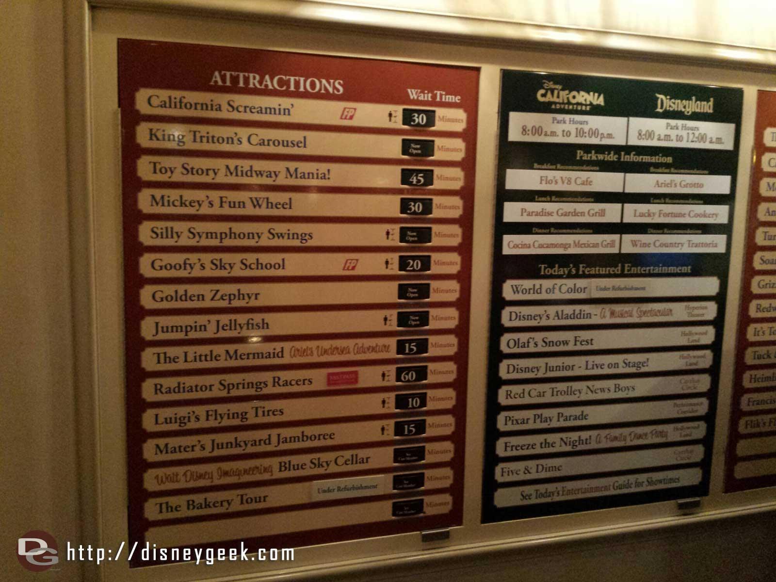 Disney California Adventure waits as of 8:13pm