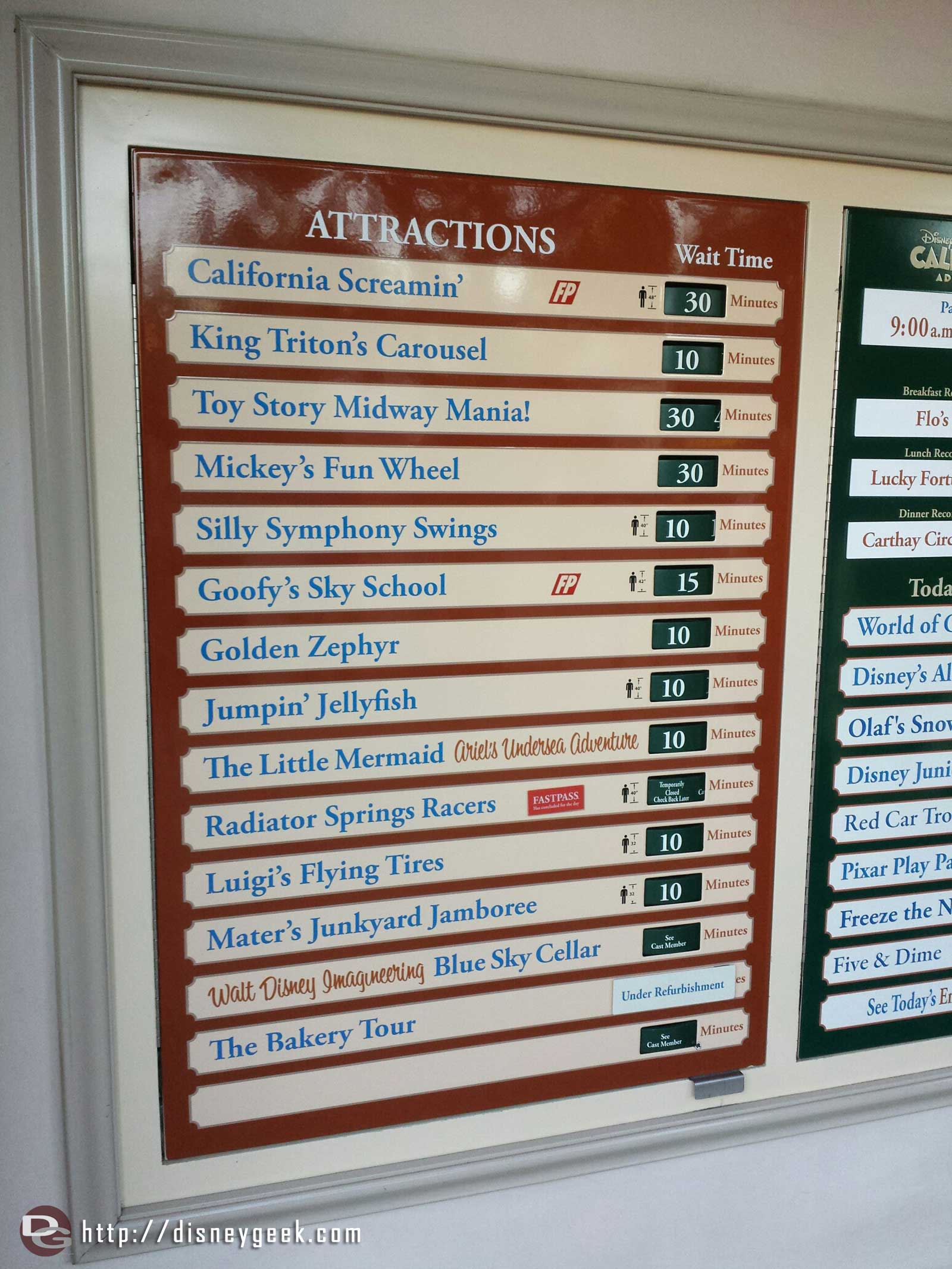 Some Disney California Adventure waits as of 4:17pm
