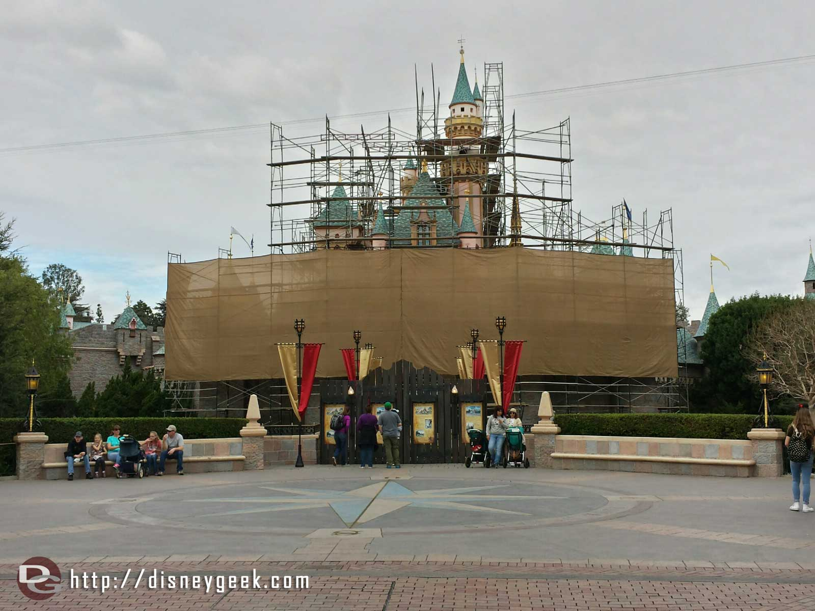 Sleeping Beauty Castle has scaffolding up as it is prepared for #Disneyland60