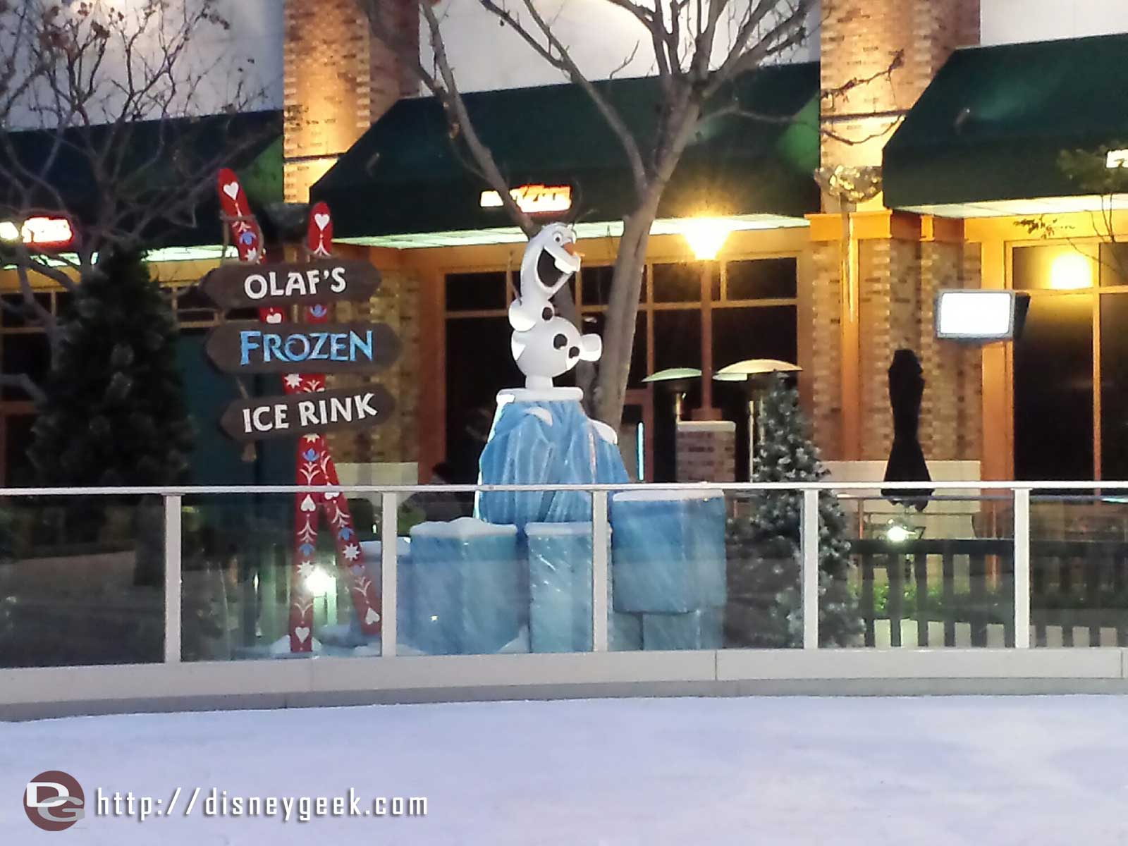 Olaf watching over his ice rink